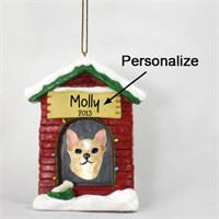 Chihuahua Personalized Dog House Christmas Ornament
