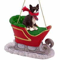 Chihuahua Sleigh Ride Christmas Ornament Black-White