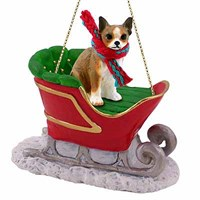 Chihuahua Christmas Ornament Sleigh Ride Brindle-White