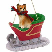 Chihuahua Christmas Ornament Sleigh Ride Longhaired