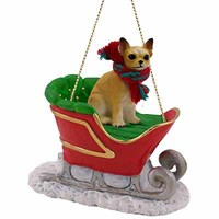 Chihuahua Sleigh Ride Christmas Ornament Tan-White