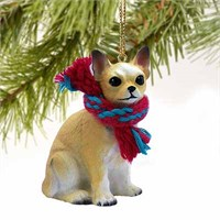 Chihuahua Christmas Ornament Tan and White