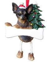 Chihuahua Christmas Ornament Tree Personalized (Black and Tan)