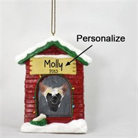Chinese Crested Personalized Dog House Christmas Ornament