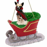 Chinese Crested Sleigh Ride Christmas Ornament