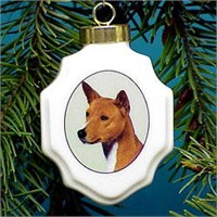Basenji Christmas Ornament Porcelain