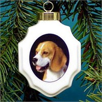 Beagle Christmas Ornament Porcelain