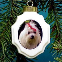 Maltese Christmas Ornament Porcelain
