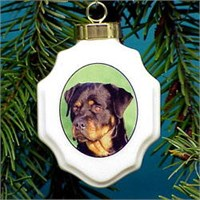 Rottweiler Christmas Ornament Porcelain