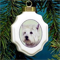 Westie Christmas Ornament Porcelain