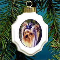 Yorkie Christmas Ornament Porcelain