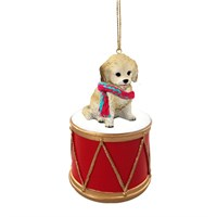 Cockapoo Blonde Little Drummer Christmas Ornament