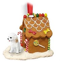 Cockapoo Gingerbread House Christmas Ornament White