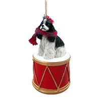 Cocker Spaniel Black-White Little Drummer Christmas Ornament