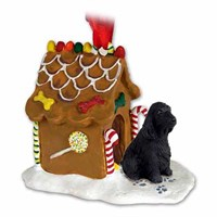 Cocker Spaniel Gingerbread House Christmas Ornament Black