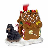 Cocker Spaniel Gingerbread House Christmas Ornament Black-Tan