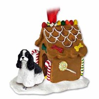 Cocker Spaniel Gingerbread House Christmas Ornament Black-White