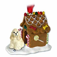 Cocker Spaniel Gingerbread House Christmas Ornament Blonde