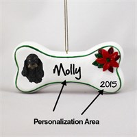 Cocker Spaniel Personalized Dog Bone Christmas Ornament Black-Tan
