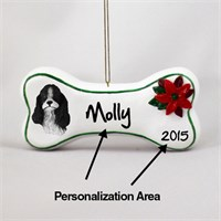 Cocker Spaniel Personalized Dog Bone Christmas Ornament Black-White