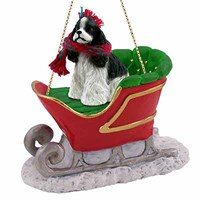 Cocker Spaniel Sleigh Ride Christmas Ornament Black and White