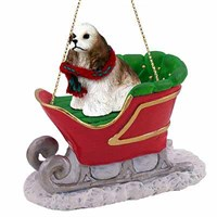Cocker Spaniel Sleigh Ride Christmas Ornament Brown-White