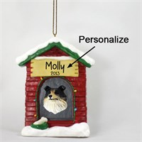 Collie Personalized Dog House Christmas Ornament