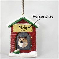 Collie Personalized Dog House Christmas Ornament Sable