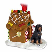 Coonhound Gingerbread House Christmas Ornament Black-Tan