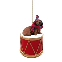 Longhaired Dachshund Little Drummer Christmas Ornament