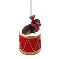 Longhaired Black Dachshund Little Drummer Christmas Ornament