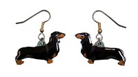 Dachshund Earrings Black Hand Painted Acrylic
