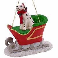 Dalmatian Sleigh Ride Christmas Ornament