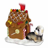 Dandie Dinmont Gingerbread House Christmas Ornament