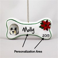 Dandie Dinmont Personalized Dog Bone Christmas Ornament
