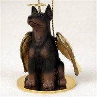 Doberman Pinscher Angel Ornament Red
