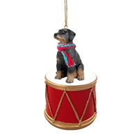 Doberman Pinscher Black Uncropped Little Drummer Christmas Ornament