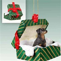 Doberman Pinscher Gift Box Christmas Ornament Black Uncropped