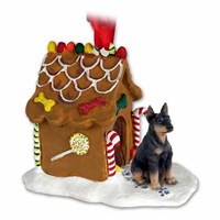 Doberman Pinscher Gingerbread House Christmas Ornament