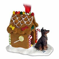 Doberman Pinscher Gingerbread House Christmas Ornament Red