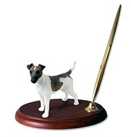 fox terrier smooth pen holder 14006 Fox Terrier Pen Holder (Brown &amp; White)