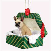 French Bulldog Christmas Ornament Gift Box Fawn