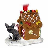 French Bulldog Christmas Ornament Gingerbread House