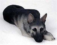 German Shepherd Figurine Blk-Slv MyDog