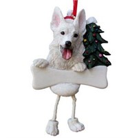German Shepherd Christmas Tree Ornament - Personalize (White)