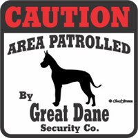 Great Dane Bumper Sticker Caution