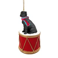 Great Dane Black Uncropped Little Drummer Christmas Ornament