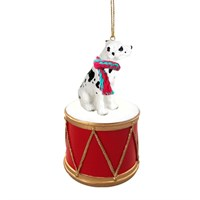 Dane Great Harlequin Uncropped Little Drummer Christmas Ornament