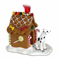 Great Dane Gingerbread House Christmas Ornament Harlequin Uncropped