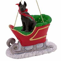 Great Dane Sleigh Ride Christmas Ornament Black